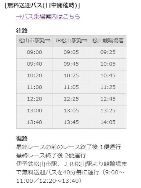 松山競輪場 無料バス時刻表